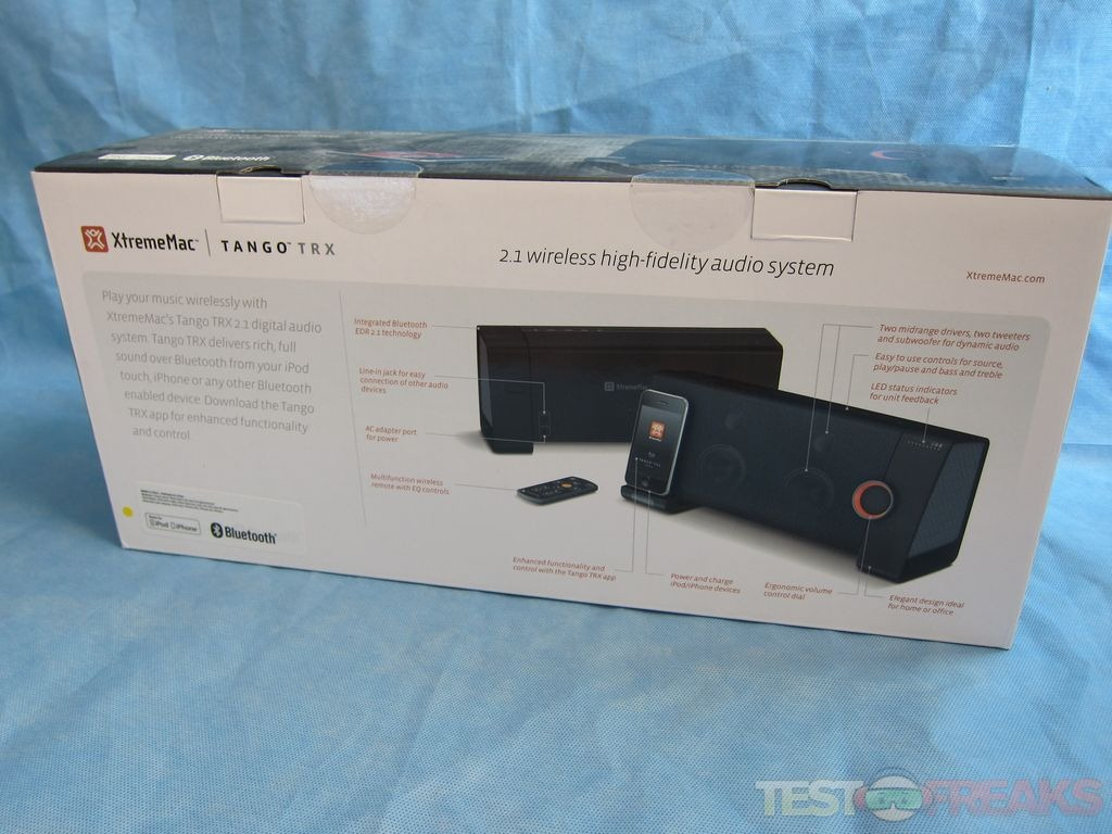 Inside the package we find the Tango TRX speaker, an AC power cord,  wireless remote control, and user guide.