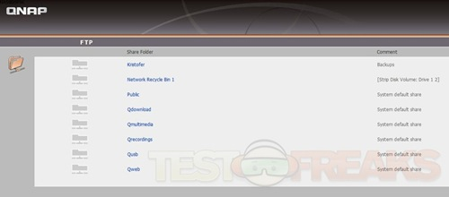 QNAP User Interface